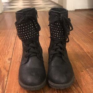 Rhinestone Combat Boots with Buckles